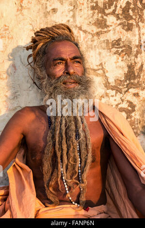 A Sadhu, holy man, Galtaji, Khania-Balaji, Jaipur, Rajasthan, India - Stock Photo