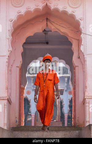 Young Sadhu, Pushkar, Rajasthan, India - Stock Photo