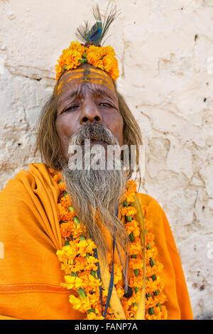 A Sadhu, holy man, Pushkar, Rajasthan, India - Stock Photo
