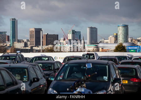 Birmingham City Centre Skyline as seen from the east of the city, - Stock Photo
