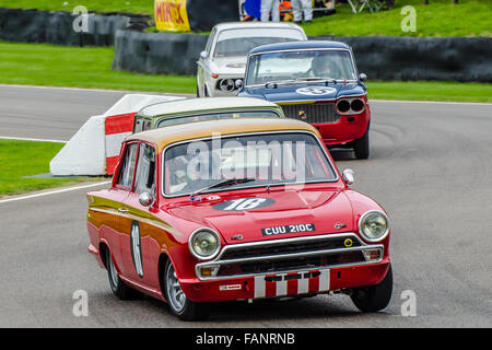 1965 Lotus Cortina Mk1 is owned by Gavin Henderson and was raced by Mat Jackson at the 2015 Goodwood Revival. Space - Stock Photo