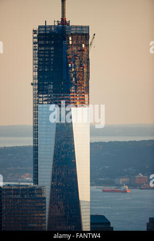 One World Trade Center under construction (08-2012). The skyscraper is located in Lower Manhattan Financial District, - Stock Photo