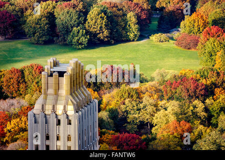 Aerial view of Central Park West Sheep Meadow in full autumn colors. Upper West Side, Manhattan, New York City. - Stock Photo
