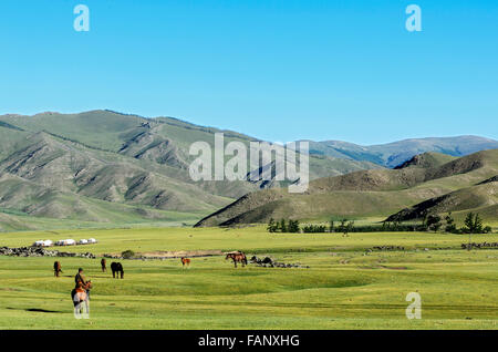Nomads in the barren landscape in the Orkhon Valley, Khangai Nuruu National Park, Övörkhangai Aimag, Mongolia - Stock Photo