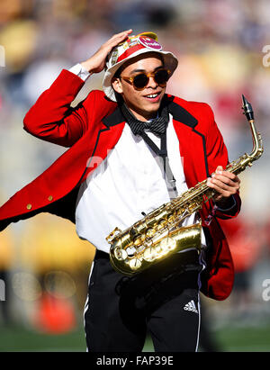 Pasadena, CA. 1st Jan, 2016. A member of the Stanford Cardinal Marching Band in action during a 45-16 victory over - Stock Photo