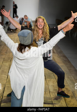 NEW YORK, NY - JULY 15, 2015: Odin Grina poses during rehearsal for the Greg Lauren show during NYFW Men's S/S 2016 - Stock Photo