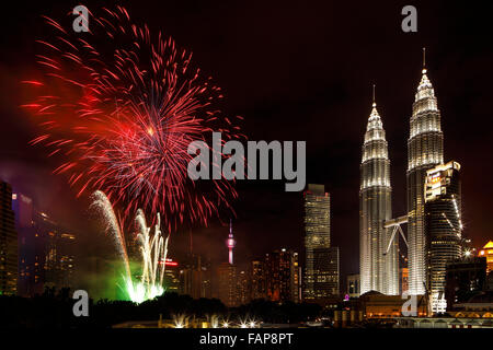 The 2016 New Year's Fireworks Celebration at KLCC, Malaysia. - Stock Photo