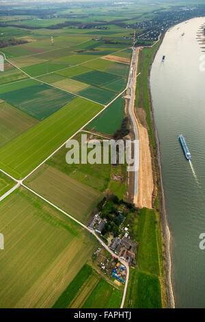 Aerial view, bowery, dike renovation, dikes, bank of the Rhine, flood protection along the Rhine, Farm at the river - Stock Photo