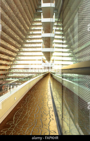 Interior shot of mezzanine level of Marina Bay Sands in Singapore - Stock Photo