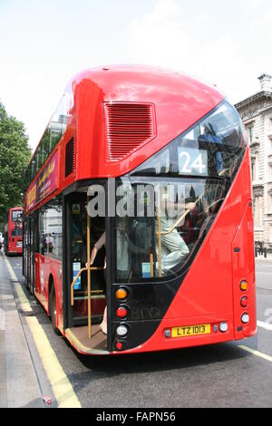 REAR OF NEW ROUTEMASTER RED BUS IN LONDON - Stock Photo