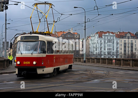 Trams in Prague . The Prague tram network is 135 kilometers and has 25 daytime lines and 9 at night. In combination - Stock Photo