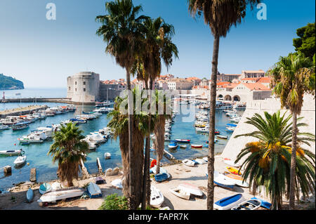 View from the old walled city onto Dubrovnik harbour, Dubrovnik,Dalmatia, Croatia, Europe. - Stock Photo