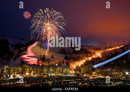 Squaw Valley Ski Resort in Olympic Valley, California,winter fireworks and torchlight parade on new year's eve 2015. - Stock Photo