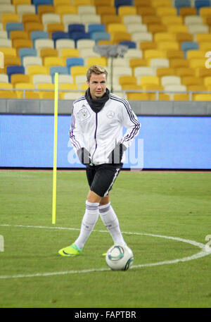 KYIV, UKRAINE - NOVEMBER 10, 2011: Mario Gotze of Germany controls a ball during training session before friendly - Stock Photo