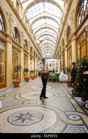 Covered passage Galerie Vivienne near Palais Royal, gallery, Paris, France. - Stock Photo