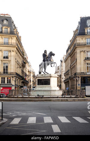 View of the Place des Victoires, Roman Equestrian Statue of king Louis XIV, Paris, France. - Stock Photo