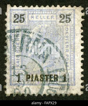Austria,post mark,stamp, Austrian office in Turkey, - Stock Photo