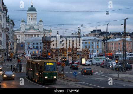 General view of the Helsinki city with the tram, market, and the Senaatintori Lutheran Cathedral from the Eteläranta - Stock Photo