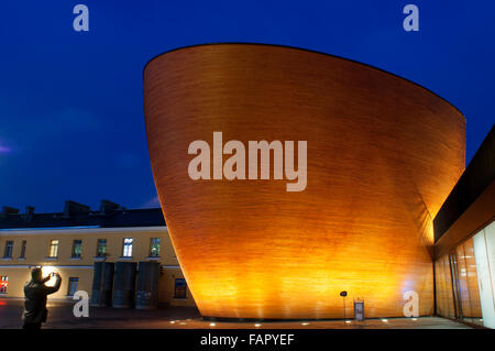 Kamppi Chapel or Chapel of Silence, Narinkka Square, Helsinki, Finland. The chapel is ecumenical and welcomes. The - Stock Photo