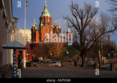 Helsinki, Finland. The Uspenski (Finnish, Uspenskin katedraali, Swedish, Uspenskij-Katedralen, Russian, Успенский - Stock Photo