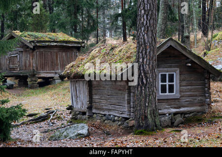 Seurasaari park featuring ancient houses on an islet, Helsinki, Finland. The Museum Island of Seurasaari, houses - Stock Photo