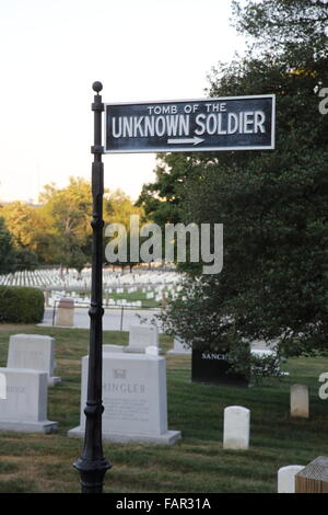 Signpost to the Tomb of the Unknown Soldier, at Arlington National Cemetery, Virginia, USA - Stock Photo