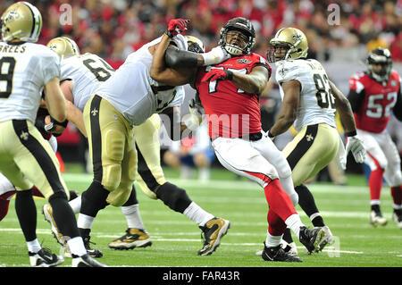 Atlanta Georgia. 3rd Jan, 2016. Atlanta Falcons DT Hageman, Ra'Shede (#77) in action during NFL game between New - Stock Photo