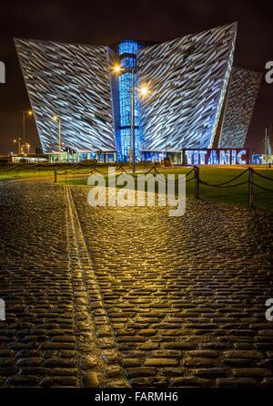 Belfast's iconic Titanic building. - Stock Photo