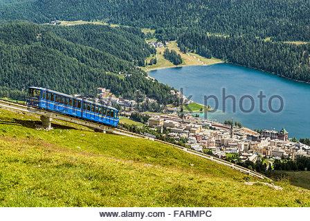 Chantarella Funicular, St.Moritz, Grisons, Switzerland | Chantarella Standseilbahn, St.Moritz, Switzerland - Stock Photo