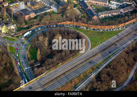 Aerial view, A52 Motorway Oberhausen Neue Mitte with storage, car storage for Centro Shopping Centre, Oberhausen, - Stock Photo