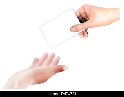 Hand Drawing, Person Open A Hand in The Air Receive An Empty Card From A Business Man Isolated on White Background - Stock Photo