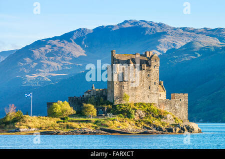 Eilean Donan Castle on the shore of Loch Duich Ross and Cromarty Western Highlands of Scotland UK GB EU Europe - Stock Photo