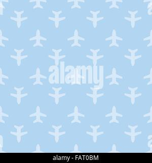 Blue seamless aircraft art background - Stock Photo