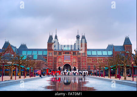 The Rijksmuseum Amsterdam museum area with the words IAMSTERDAM. - Stock Photo