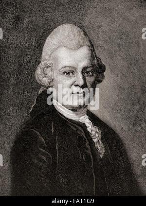 Gotthold Ephraim Lessing, 1729 –1781.  German writer, philosopher, dramatist, publicist and art critic. - Stock Photo