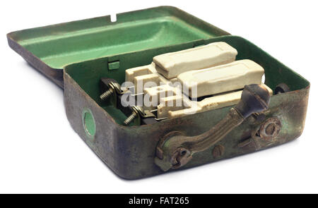 Closeup of main switch over white background - Stock Photo
