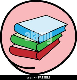 School Supplies, A Cartoon Illustration of A Stack of Colorful Books Icon in Pink Circle Frame - Stock Photo