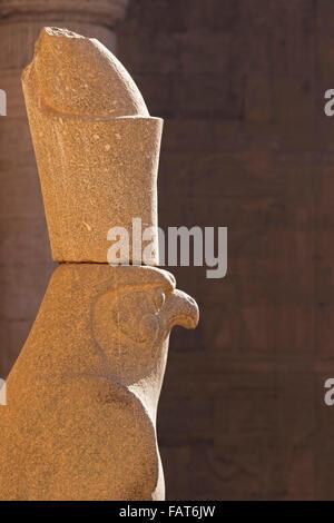 Statue of the falcon god Horus at the Temple of Edfu, Egypt Stock Photo