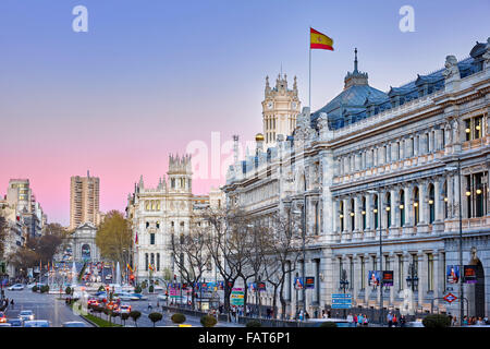 Bank of Spain and city hall at Cibeles square. Madrid. Spain - Stock Photo