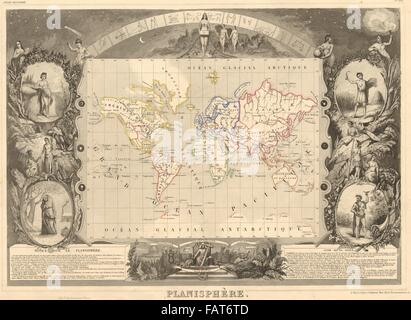 PLANISPHERE. World. Decorative antique map/carte by Victor LEVASSEUR, 1852 - Stock Photo