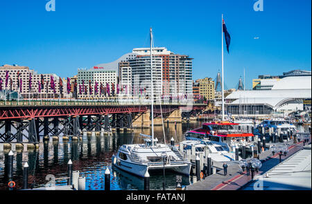 Australia, New South Wales, Sydney, Darling Harbour, view of Pyrmont Bridge from the Darling Harbour Aquarium Wharf - Stock Photo