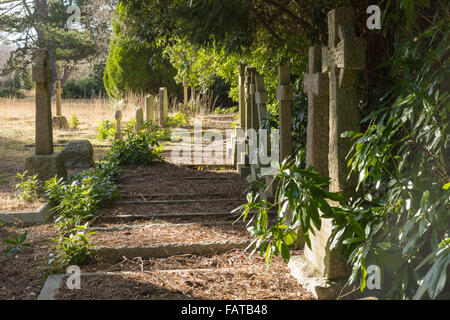 A row of neglected graves in the sunshine. - Stock Photo