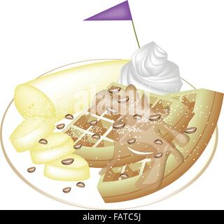 Freshly Homemade Round Belgian Waffle with Sliced Banana, Syrup, Chocolate Chips, Whipped Cream and Little Purple - Stock Photo