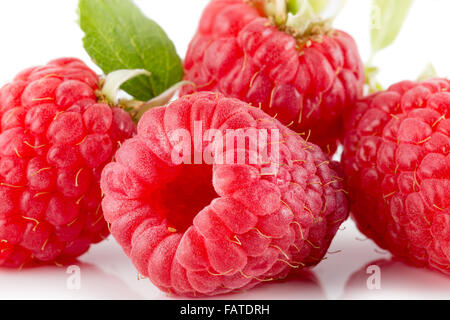 raspberries isolated on the white background. - Stock Photo