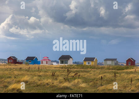 Beach huts by the seaside in Ærøskøbing,  Denmark - Stock Photo