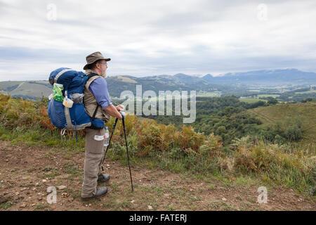 Pilgrim from Sweden near the village of Ordiarp on the Voie du Piémont route of the Camino de Santiago. - Stock Photo
