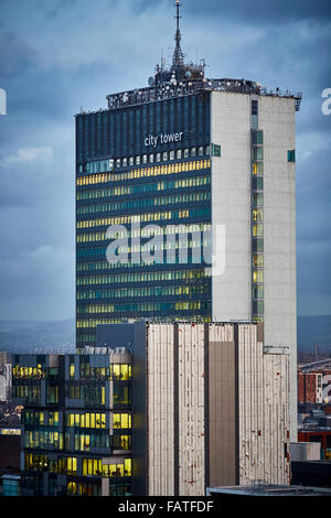 View from Manchester Town Hall clock tower looking at building looking at City Tower    Office space development - Stock Photo