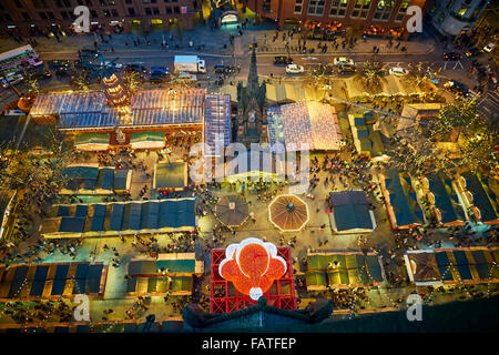 Manchester city centre German style Christmas Markets 2015 in Albert Square   landmark above looking down on Market - Stock Photo