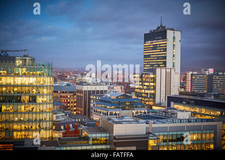 View from Manchester Town Hall clock tower looking at building looking towards 82 king Street   Manchester skyline - Stock Photo