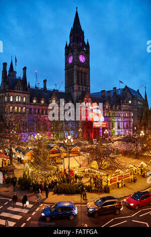 Manchester city centre German style Christmas Markets 2015 in Albert Square   Market bazaar vendor trader traders - Stock Photo